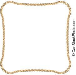 dorado, cadena, aislado, blanco, plano de fondo