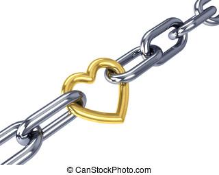 dorado, cadena, corazón, cromo, aislado, enlace, blanco