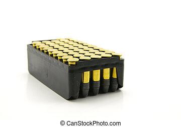 dorado, calibre, paquete, punto, hueco, .222, munición