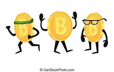 dorado, carácter, conjunto, vector, corriente, anteojos, humanized, bitcoin, llevando