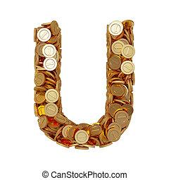 dorado, carta, alfabeto, pesos, aislado,  U, Plano de fondo, blanco