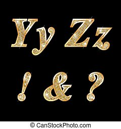 dorado, cartas, y, z, ¡!, ¿?, y