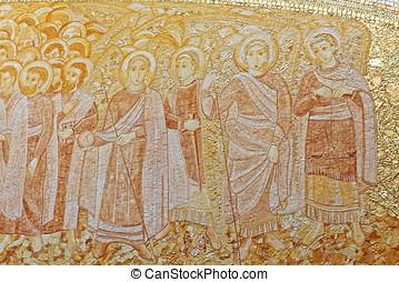 dorado, católico, mosaico, panel