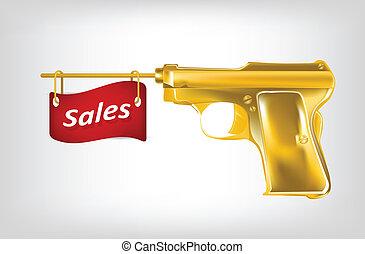 dorado, cerrar, ilustración, ventas, bandera, pistola