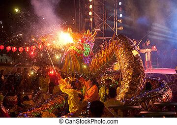 dorado, chino, bailando, dragón, year., nuevo