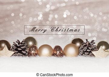 dorado, chucherías navidad, plano de fondo, plata