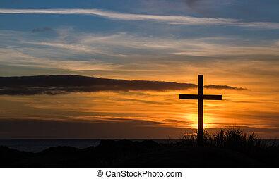 dorado, cielo, cruz