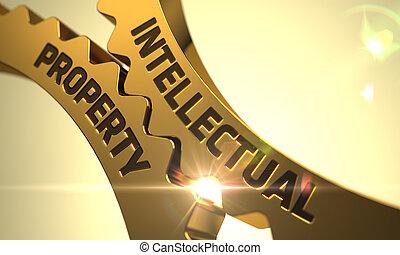 dorado, cogwheels., concept., intelectual, 3d., propiedad