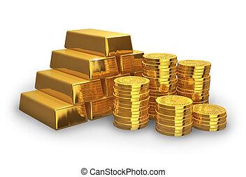 dorado, coins, pilas, lingotes