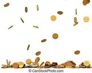 dorado, coins, rain., ilustración, 3d