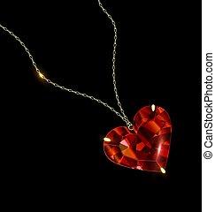 dorado, colgante, negro rojo, corazón, joya, plano de fondo, cadena