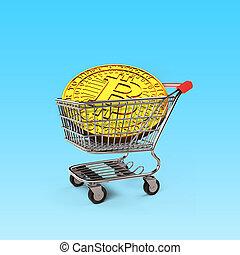 dorado, compras, bitcoin, ilustración, carrito, 3d