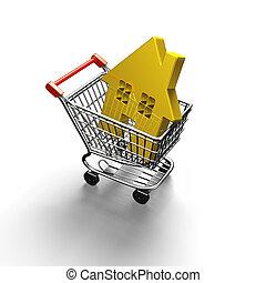dorado, compras, casa, ilustración, carrito, 3d