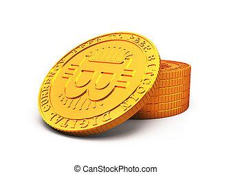 dorado, concepto, ilustración, cryptocurrency, bitcoin, 3d