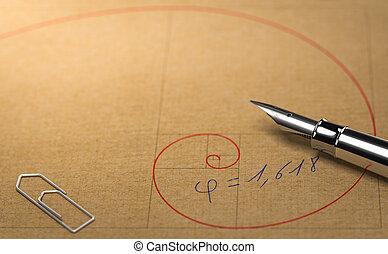dorado, concepto, ratio., proporción, fibonacci,...