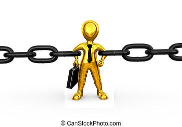 dorado, conexión cadena, hombre de negocios, fuerte, 3d