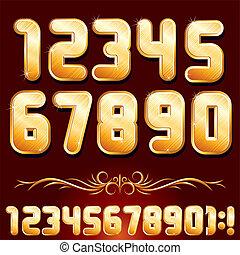dorado, conjunto, alphabet., metálico, vector, números