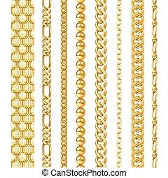 dorado, conjunto, cadenas