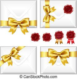 dorado, conjunto, sellos, sobres, cera, arco