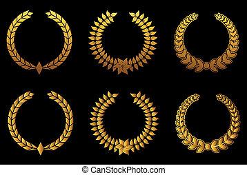 dorado, conjunto, wreathes, laurel