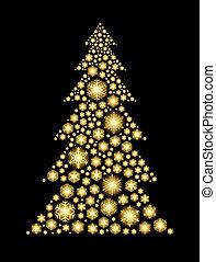 dorado, copos de nieve, encendido, forma, árbol., navidad