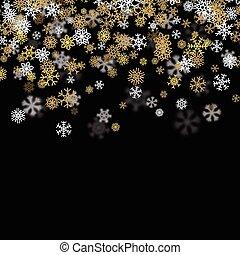 dorado, copos de nieve, nevada, confuso, fondo oscuro