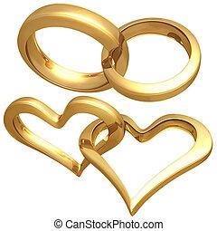 dorado, corazón, anillos