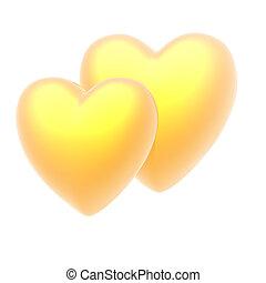 dorado, corazón, en, un, fondo blanco