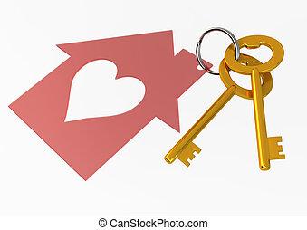 dorado, corazón, llaves, casa, aislado, ilustración, forma, ...