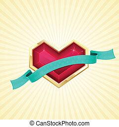 dorado, corazón, y, cinta