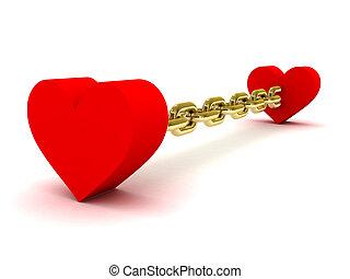 dorado, Corazones, dos, cadena, ligado