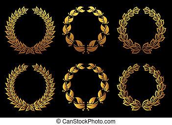 dorado, coronas, conjunto, laurel