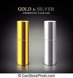 dorado, cosmético, plata, paquete