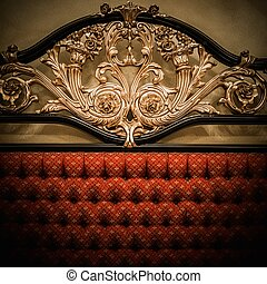 dorado, costoso, ornamento, espalda, cama