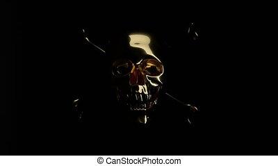 dorado, cráneo, cruzado, alfa, huesos, totenkopf, o
