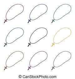 dorado, cristiano, rosario, icono, en, negro, estilo, aislado, blanco, fondo., joyas, y, accesorios, símbolo, acción, vector, illustration.