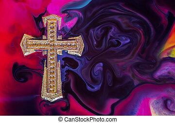 dorado, cruz, colorido