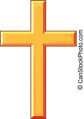 dorado, cruz, vector, ilustración