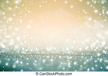 dorado, día feriado de christmas, encendido, defocused,...