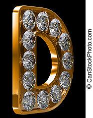 dorado, d, carta, incrusted, con, diamantes
