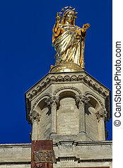 dorado, dama notre, des, francia, virgen, estatua, catedral...