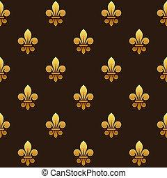 dorado, de, pattern., seamless, fleur, vector, lis