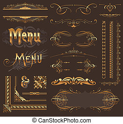 dorado, decoración, elementos, y, diseño, florido, página