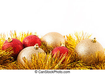dorado, decoración, encima, aislado, white., navidad, rojo