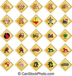 dorado, decorativo, rhombs, con, juguetes