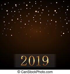 dorado, destello, diseño, luz, año, oro, deseo, lujo, glitter., nuevo, 2019., navidad, feliz, símbolo, ilustración, plano de fondo, celebration., brillo, magia, decoration., vibrante, vector, rain., números