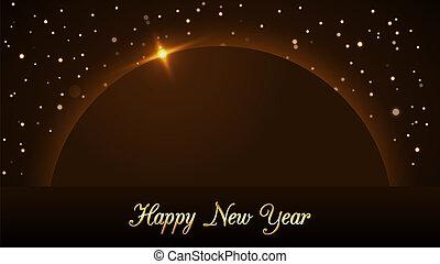 dorado, destello, diseño, luz, año, oro, deseo, lujo, glitter., nuevo, navidad, feliz, símbolo, planet., ilustración, lluvia, plano de fondo, celebration., brillo, magia, decoration., vibrante, vector