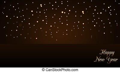 dorado, destello, diseño, luz, año, oro, deseo, lujo, glitter., nuevo, navidad, feliz, símbolo, text., ilustración, plano de fondo, celebration., brillo, magia, decoration., vibrante, vector, rain.