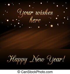 dorado, destello, texto, diseño, vibrante, año, card., deseo, lujo, glitter., nuevo, navidad, feliz, símbolo, ilustración, plano de fondo, oro, celebration., brillo, magia, decoration., luz, vector, rain.