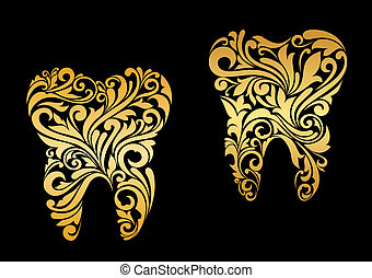 dorado, diente, en, floral, estilo